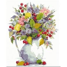 Рисование по номерам Букет с одуванчиками  и ягодами MG2059 40х50 тм Цветной