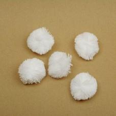 Помпоны TBY из пряжи 1,5г/шт BYN40 40мм цв.белый упак. 100шт
