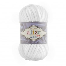 Пряжа для вязания Ализе Velluto (100% микрополиэстер) 5х100г/68м цв.055 белый