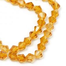 Бусины граненые Биконус(стекло) на нитях TBY-K-1  6х6мм отвер.1,5мм цв.36 желтый уп.1х50 бусин