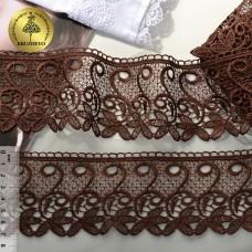 Кружево гипюр KRUZHEVO TR 1416 шир.70мм цв.24 т.коричневый уп.9м