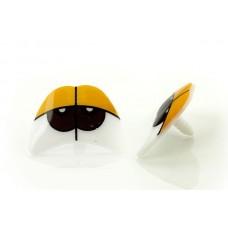 Глаза винтовые сдвоенные TBY №536-301 (с заглушками) цв.желтый уп.10шт