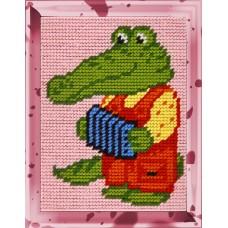 Набор для вышивания с пряжей BAMBINI X2221 Крокодил Гена 15х20 см