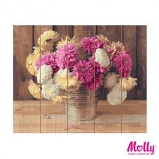 Картины по номерам на дереве Molly KD0698 Дачный букет (28 цветов) 40х50 см