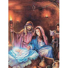 Алмазная вышивка Рождение Иисуса Христа LMC024 50х65 тм Цветной