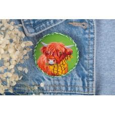 Набор для вышивания PANNA Живая картина  JK-2193 Брошь. Корова Белла 5,5х5,5 см