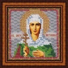 Рисунок на ткани Вышивальная мозаика  4074 Икона Св. Мученица Антонина 6,5х6,5 см