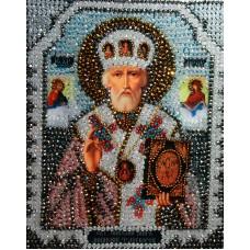 Набор для вышивания хрустальными бусинами ОБРАЗА В КАМЕНЬЯХ  7704 Николай Чудотворец 18,4х22,8 см