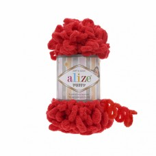 Пряжа для вязания Ализе Puffy (100% микрополиэстер) 5х100г/9.5м цв.056 красный