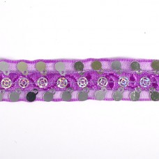 Тесьма с пайетками TBY TH249 шир.20мм цв.021 фиолетовый уп.18,28м