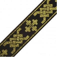Лента отделочная жаккардовая (галун православный) 0397A шир.50мм уп.10 м цв.черный/золото