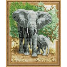 Набор Колор Кит картина алмазная КК.TSGJ1055 Слоны на прогулке 40х50