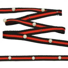 Тесьма-стропа TBY  Лампас с бусинами PB1 шир.10мм цв.черный/красный уп.13.71м