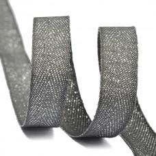 Тесьма киперная металлизированная 10 мм полиэстер TBYT01 цв.S306 т.серый уп.22,85м
