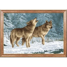 Рисунок на ткани МАГИЯ КАНВЫ КС039 Волки на снегу 39х27 см