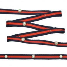 Тесьма-стропа TBY  Лампас с бусинами PB3 шир.10мм цв.синий/красный уп.13.71м