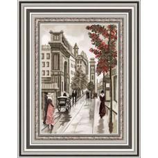 Рисунок на габардине бисером БЛАГОВЕСТ К-4051 Улочки Диптих 1 20х25 см