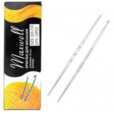 Крючки для вязания  ТВ-СН-01  Maxwell  №2/0-7/0  двусторон. цв.никель  упак.12шт.