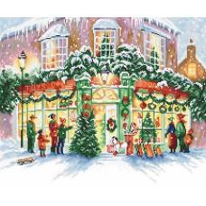 Набор для вышивания LETI  914 Рождественский магазин 34х28 см