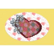 Набор для вышивания Вышивальная мозаика  109ОТ.Валентинка с цветами 10х15см