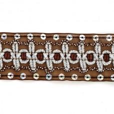 Тесьма с пайетками TBY TH182 шир.38мм цв.032 коричневый уп.18,28м