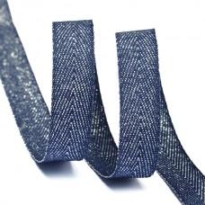 Тесьма киперная металлизированная 10 мм полиэстер TBYT05 цв.S919 т.синий уп.22,85м
