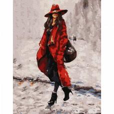 Картина по номерам с цветной схемой на холсте Molly KK0667 Девушка в красном 30х40 см