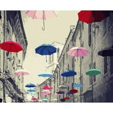 Картины по номерам Molly KH0927 Разноцветные зонтики (26 цветов) 40х50 см