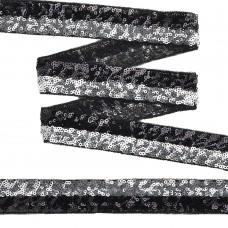 Тесьма с пайетками с двумя полосками TBY на сетке  TDFP030121 шир.30мм цв.черный+серебро уп.13,7м