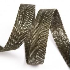 Тесьма киперная металлизированная 13 мм 90370 цв.оливковый с серебром уп.50м