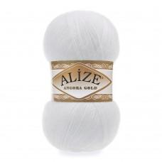 Пряжа для вязания Ализе Angora Gold (20% шерсть, 80% акрил) 5х100г/550м цв.055 белый