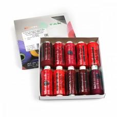 Набор бытовых ниток Dor Tak 40/2 366м 100% п/э, ассорти 5 (красные) уп.10шт