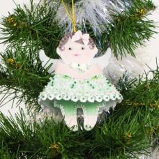 Набор для шитья и вышивания сувенир МП-11х11-8439 Ангел в зеленом