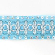 Тесьма с пайетками TBY TH182 шир.38мм цв.020 голубой уп.18,28м