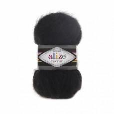 Пряжа для вязания Ализе Mohair classic NEW (25% мохер, 24% шерсть, 51% акрил) 5х100г/200м цв.060 черный
