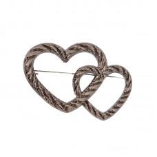 Брошь металл Сердца TBY.91752 50х35мм цв. черный никель уп. 5шт