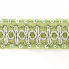 Тесьма с пайетками TBY TH182 шир.38мм цв.131 зеленый уп.18,28м