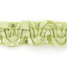 Тесьма с пайетками TBY TH463-1 шир.25мм цв.131 зеленый уп.18,28м