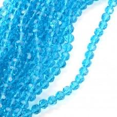 Бусины граненые Рондель (стекло) на нитях TBY-R-2 10мм  цв.04 бирюзовый уп.1х72 бусины