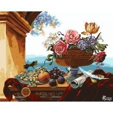 Картины по номерам Русская Живопись ФТ.B050 Ваза с цветами и фруктами 40х50 см