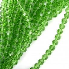 Бусины граненые Рондель (стекло) на нитях TBY-R-2 12мм  цв.13 зеленый уп.1х50 бусин