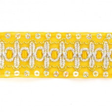 Тесьма с пайетками TBY TH182 шир.38мм цв.016 желтый уп.18,28м
