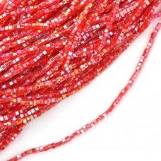 Бусины граненые (стекло) на нитях TBY-C-1  2мм  цв.27 AB красный уп.2х50 бусин