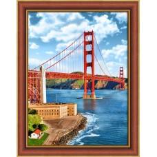 Набор для изготовления картин АЛМАЗНАЯ ЖИВОПИСЬ АЖ.1833 Мост Золотые ворота 30х40 см