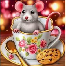 Картины по номерам Molly KH1018 Мышка в чашке 20х20 см