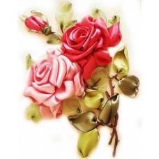 Вышивка лентами ЦВЕТНОЙ VL007 Розы 20х30 см