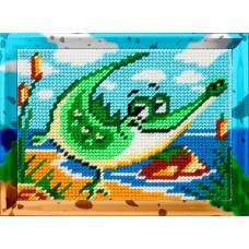 Набор для вышивания с пряжей BAMBINI X2232 Веселый крокодил 15х20 см