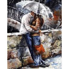 Алмазная мозаика на холсте ГРАННИ Ag833 Романтическая прогулка под дождем 38х48см
