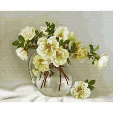 Картины по номерам на дереве Molly KD0708 Бузин. Белые розочки (24 цвета) 40х50 см