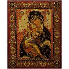 Набор для вышивания хрустальными бусинами ОБРАЗА В КАМЕНЬЯХ  7755 Владимирская Божья матерь 37х45 см